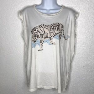All Saints Tiger  Sleeveless Tshirt Top blouse M